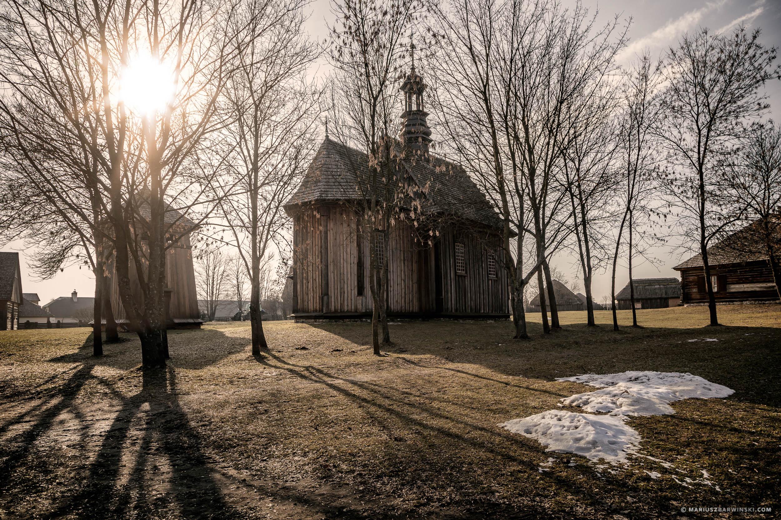 Old wooden church in open air-museum. Tokarnia. Kościół szpit