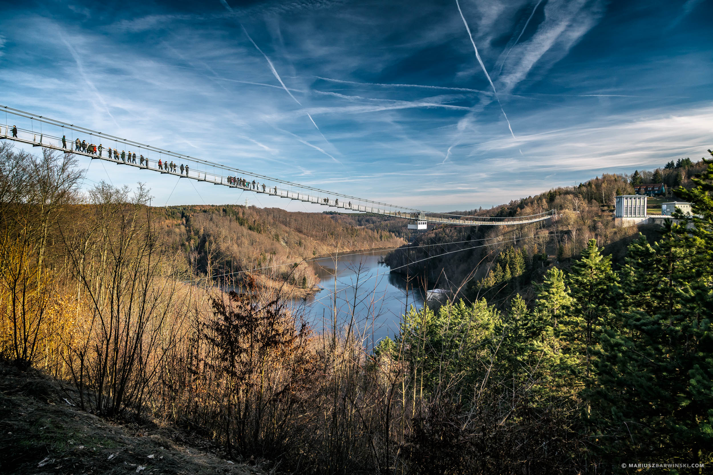 Suspension bridge over the Rappbode dam. Harz Mountains. Germany